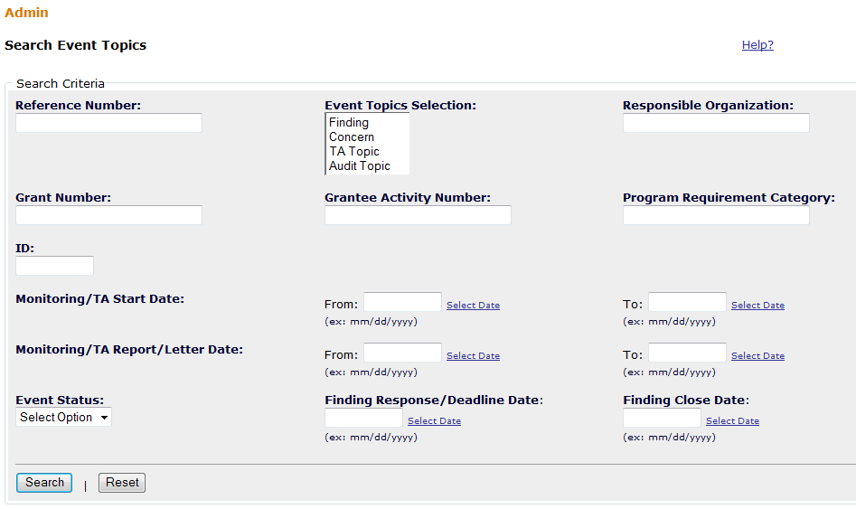 Monitoring/Audit/TA Topics Search Function