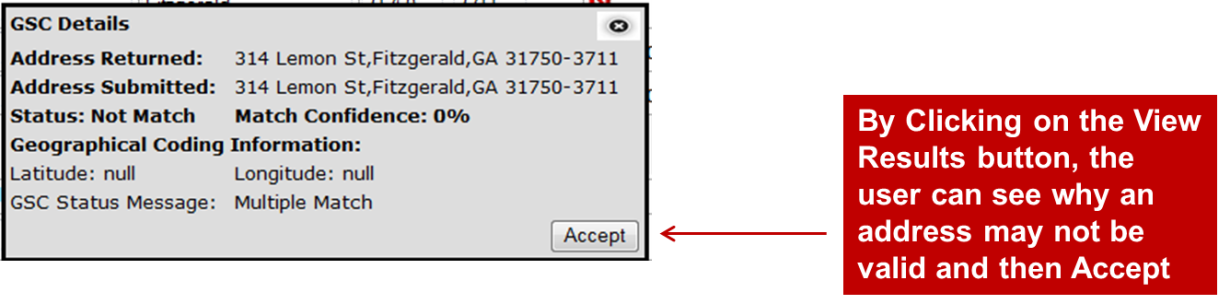View Results of the Address Validation and Then Click Accept