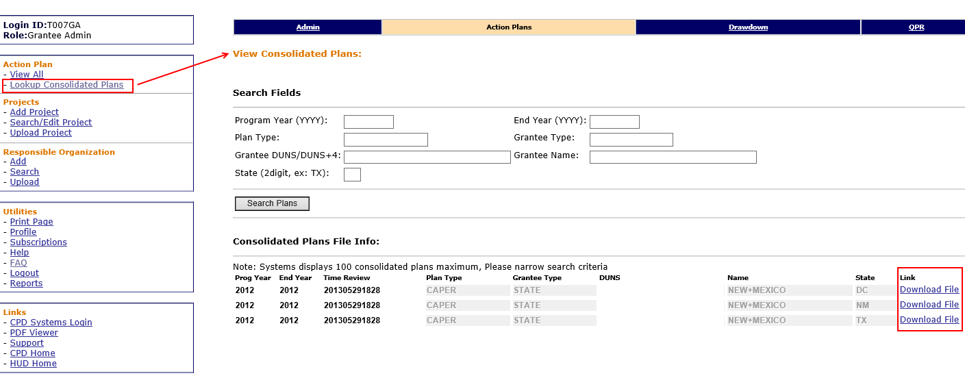 View Consolidated Plan Page Link