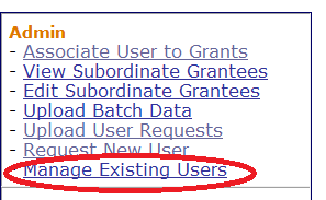 Select the Manage Existing Users Link
