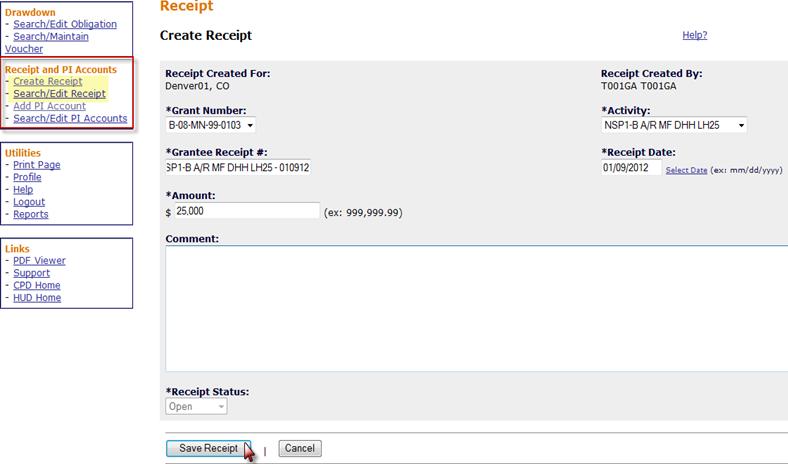Create Receipt Screen