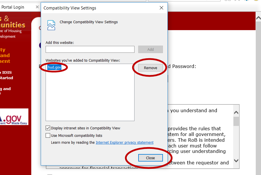 IDIS Compatibility View Settings 2