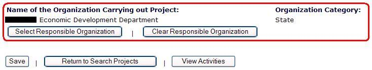 Responsible Organizations Screen
