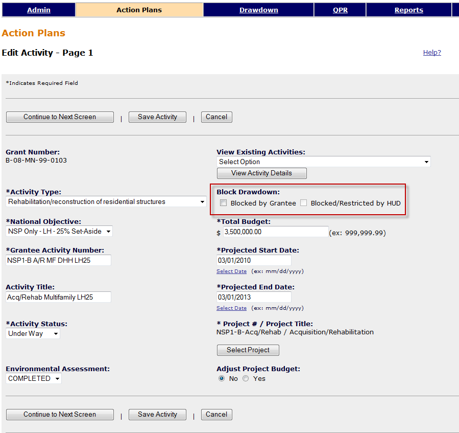 Block Dropdown Option on Edit Activity Screen