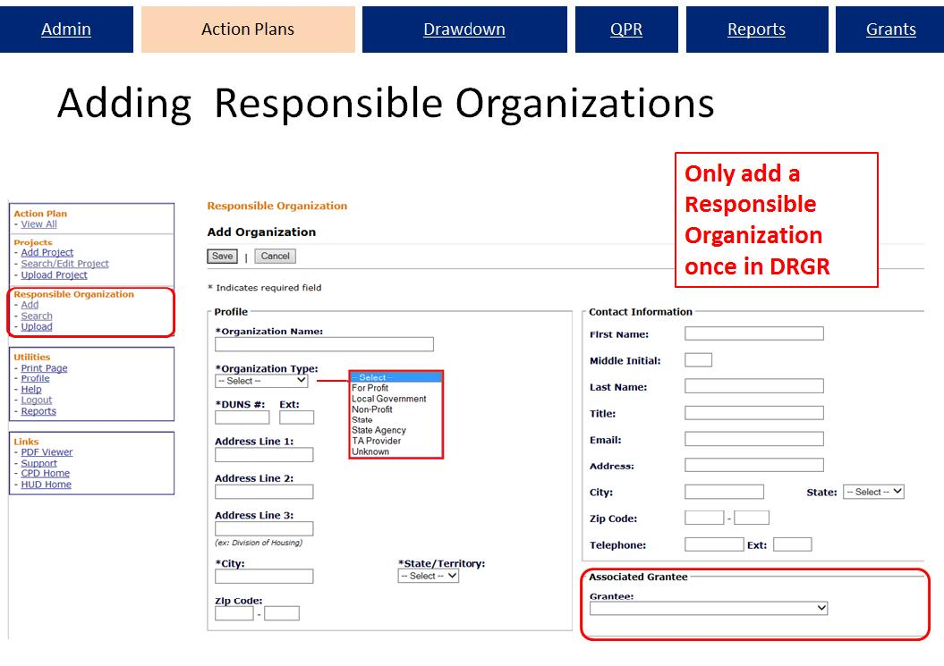 Add Responsible Organizations Screen