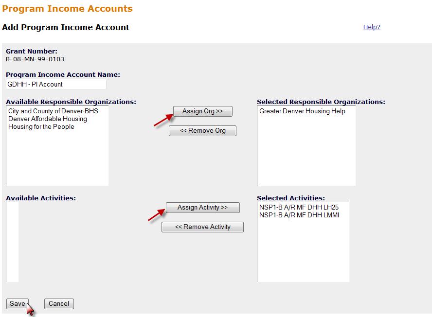 Add Program Income Account Screen