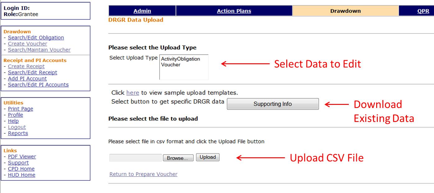 DRGR Data Upload Screen