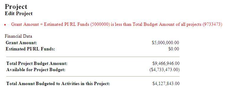 Edit Project Budget Screen