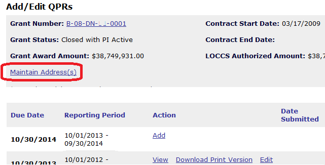 """Select the """"Maintain Address(es)"""" Link on the Add/Edit QPR Page"""