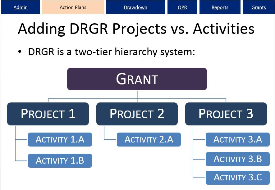 Two Tier Hierarchy Diagram for DRGR Projects and Activities