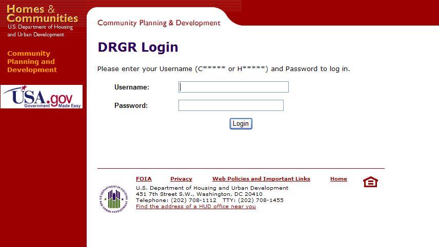 DRGR Login Page