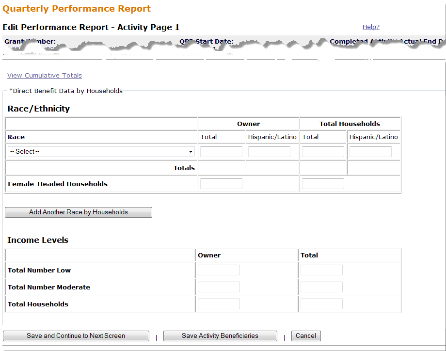 Edit Performance Report - Activity Page 1 Screen