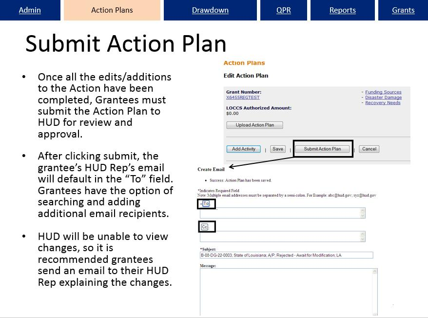 Submit Action Plan Screen