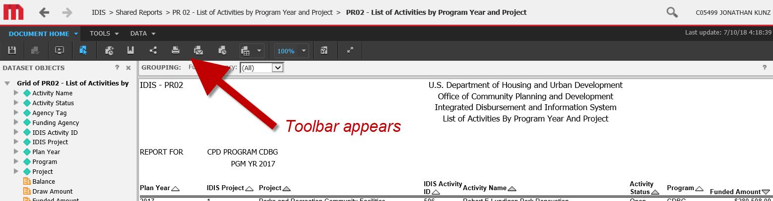 IDIS Toolbar Appears