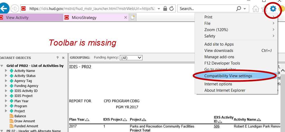 IDIS Toolbar is Missing